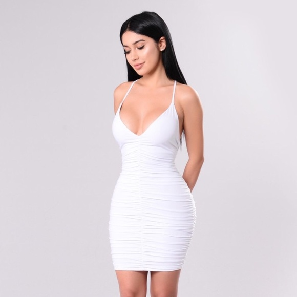 white ruched mini dress